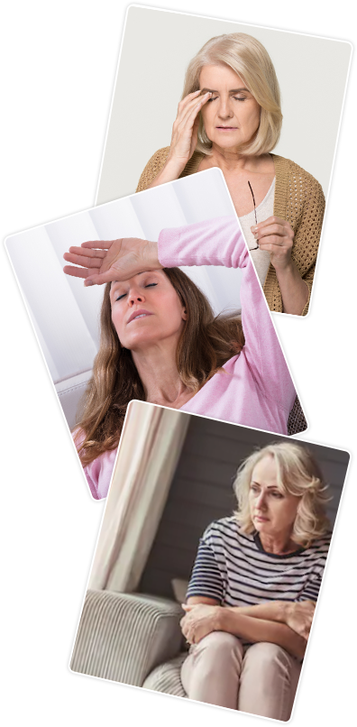 Three pictures of women in pain and worried